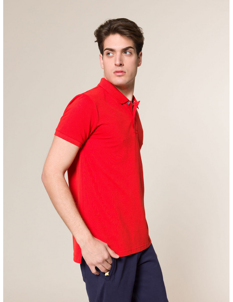 Polo basic in piqué  ROSSO